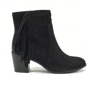 Nubuck Leather Fringed Bootie