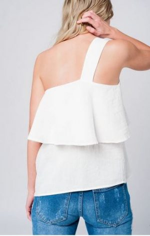 White One Shoulder Asymmetrical Top