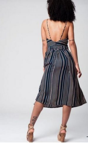 Striped Bow Midi Dress
