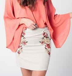 Beige Linen Mini Skirt
