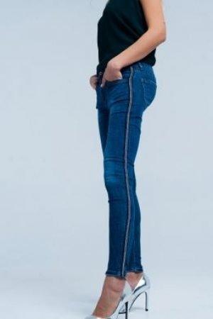 Metal Stripe Skinny Jeans