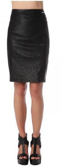 Black Faux Leather Pencil Skirt