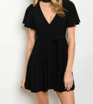 Black Flutter Sleeve Dress