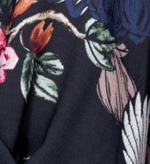 Black Floral Print Bodysuit