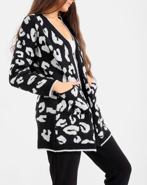 Black Leopard Print Cardigan