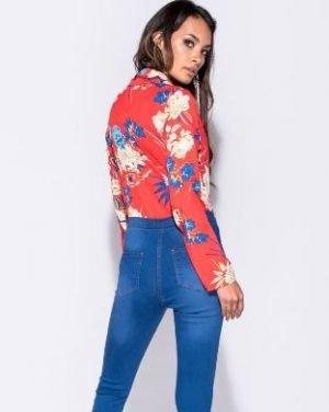 Red Floral Print Bodysuit