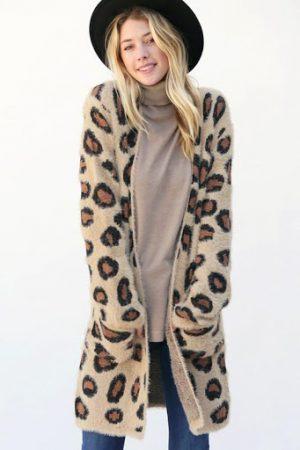 Fuzzy Leopard Print Cardigan