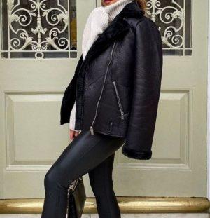 Black Faux Fur Lined Aviator Jacket