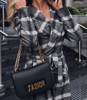 Gray Plaid Shawl Coat