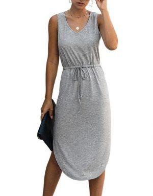 Gray Sleeveless Tank Dress