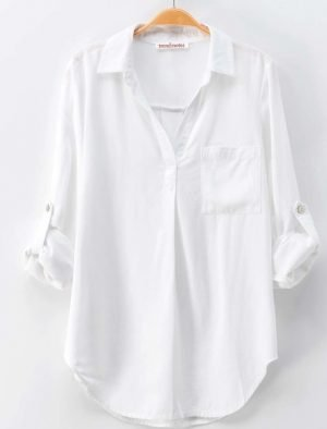 Effortless White V Neck Shirt