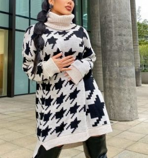 Houndstooth Check Sweater Dress