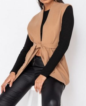 Sleeveless Belted Blazer