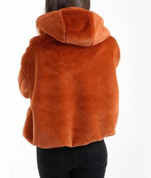 Faux Fur Hooded Bomber Jacket