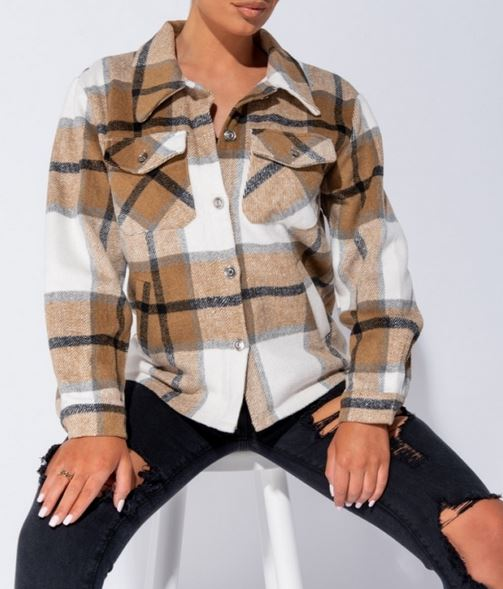 Camel Checked Shacket