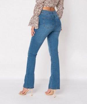 Split front flared jeans17