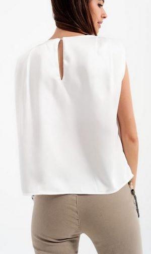 White Satin Sleeveless Top