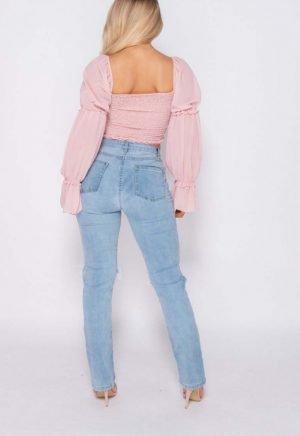Pink Ruched Bardot Top