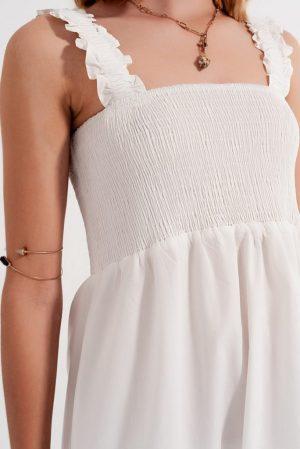 White Smocked Bodice Dress