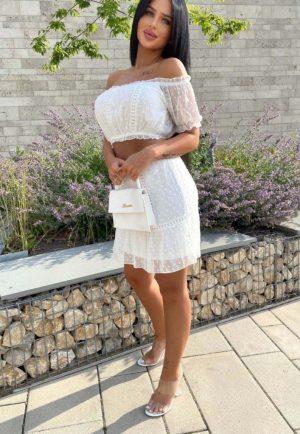 White Bardot Crop Top & Skirt Set