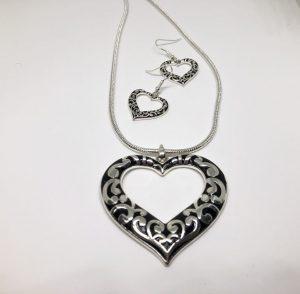 Heart Pendant Necklace & Earrings Set