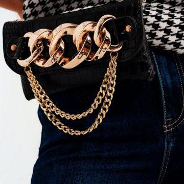 Black Gold Chain Trim Bum Bag