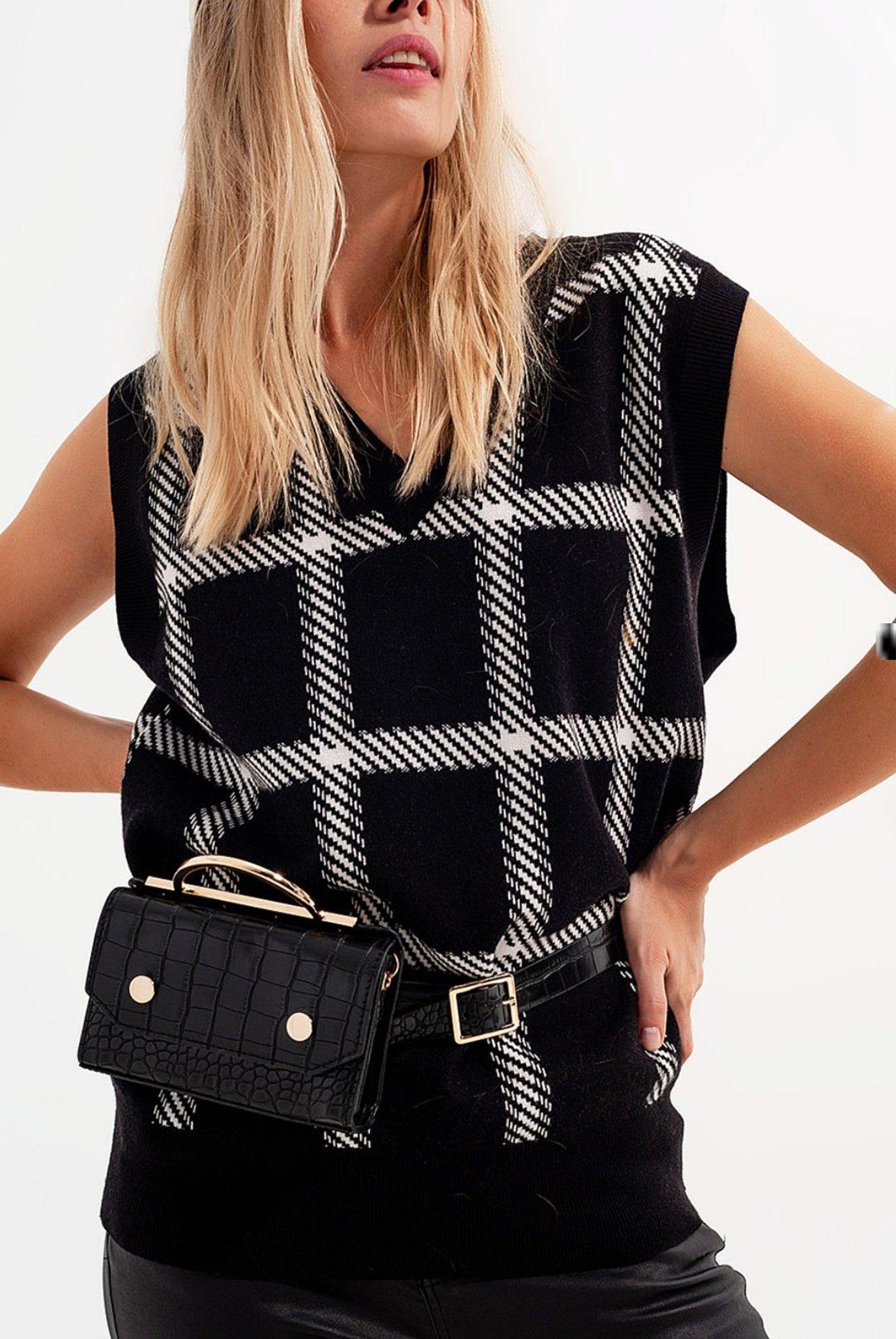 Black & White knitted Sweater Vest